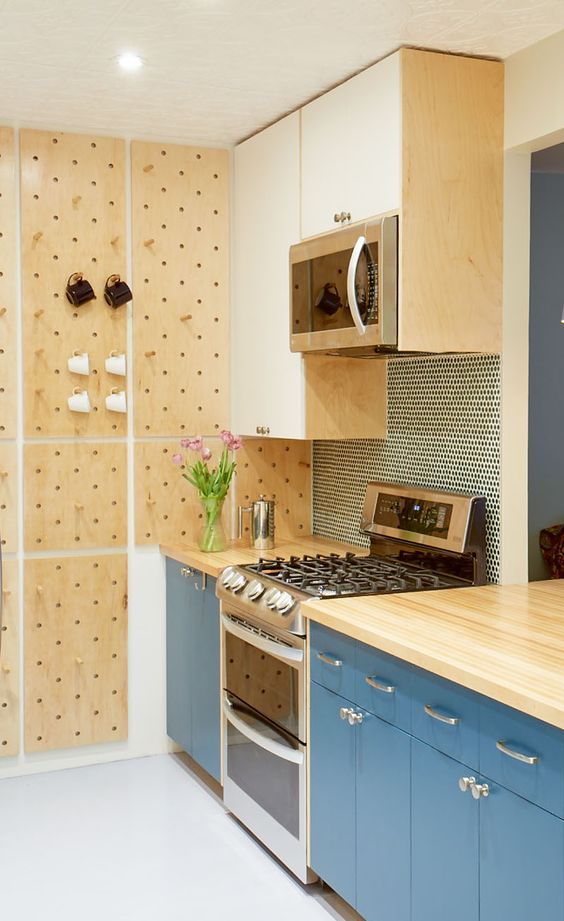 Kitchen Storage Using Pegboards