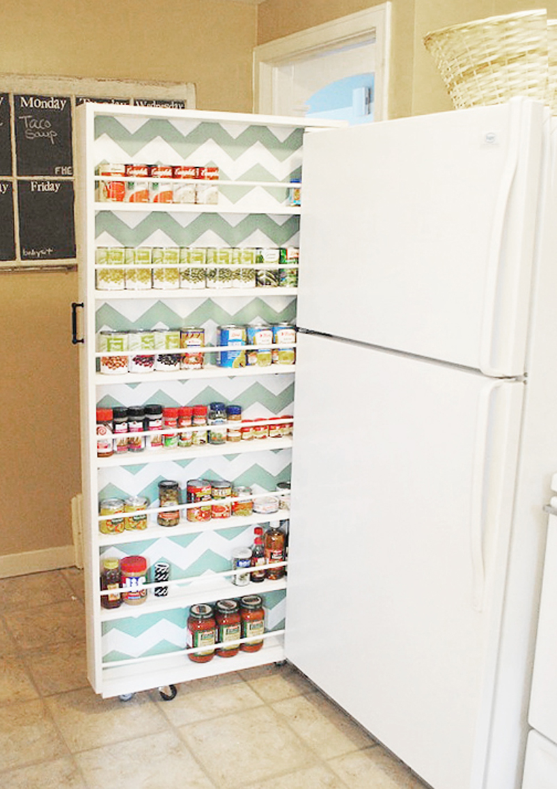 Vertical Kitchen Storage Using Pegboard