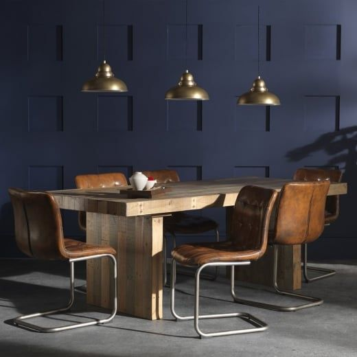 Wood, metal & leather combination interiors