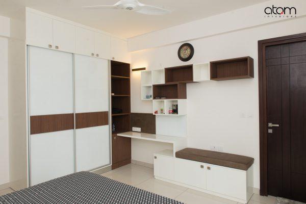 Modern Sliding Wardrobe and Study-cum-TV unit